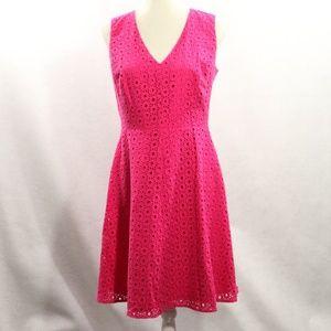 Halogen Dress Eyelet Bright Pink Sleeveless Size 8